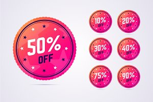 Sale badges with discounts.