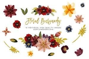 Floral Burgundy Clip Art