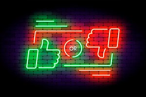 Like or dislike neon illustration