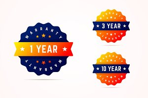 1, 3 and 10 years warranty stickers