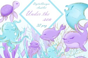 Sea animals in blue and purple