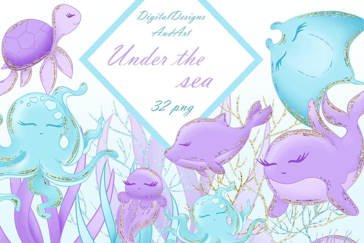 6ae5609f07b Sea animals in blue and purple ~ Illustrations ~ Creative Market