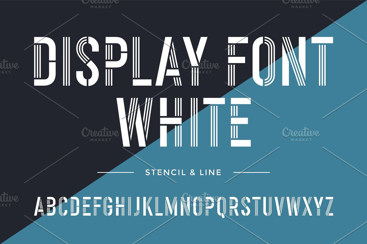 Stencil line font  Colorful