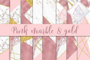 Pink, Marble & Gold Glitter Paper