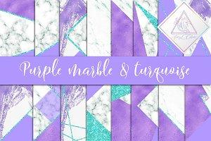 Purple, Marble & Turquoise Glitter