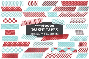 Xmas Aqua and Red Washi Tape Strips