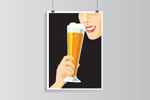 Drinking beer.