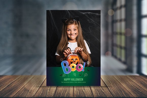 spooky greeting halloween card v01 card templates creative market