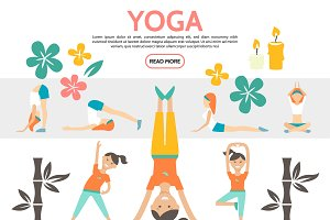 Flat yoga elements set