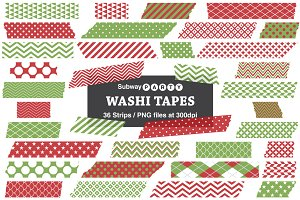 Xmas Red and Green Washi Tape Strips