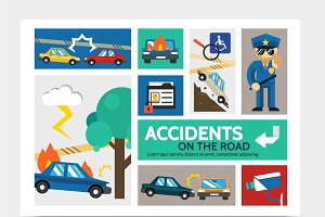 Auto accident infographic concept