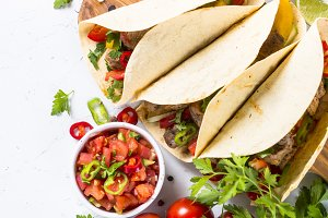 Mexican pork tacos with vegetables