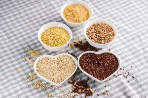 Gluten free grains in bowls on