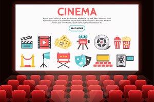 Flat cinema elements set