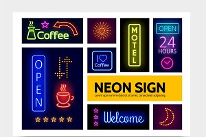 Advertising neon signs infographic