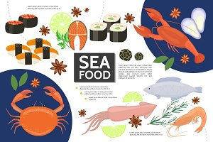 Flat seafood infographic concept