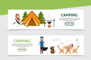 Flat outdoor recreation banners