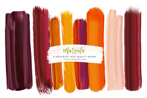 Blush and Marsala brush strokes