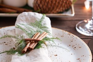 Linen napkin decorated