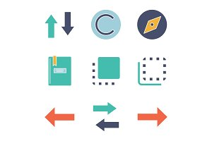 UI/UX glyph color icons set