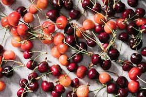 top view of fresh ripe organic cherr