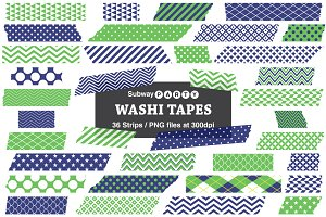 Navy Blue & Green Washi Tape Strips