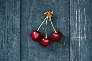 top view of tasty healthy red cherri