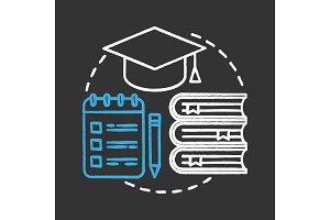 Education chalk concept icon