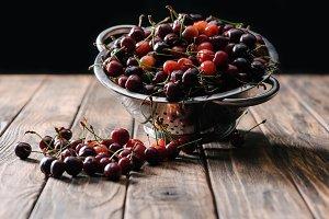 fresh ripe sweet cherries in colande