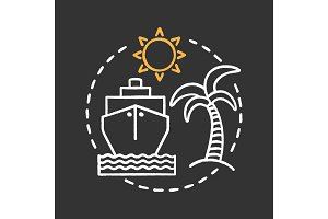 Travel agency chalk concept icon