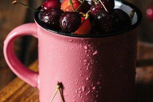 close-up view of fresh ripe cherries