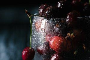 close-up view of ripe sweet cherries