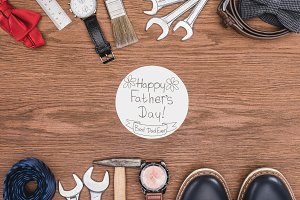 top view of Happy father's day greet