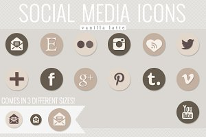 social media icons - vanilla latte