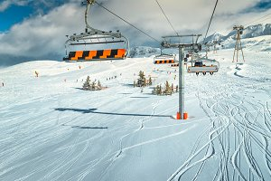 Famous ski slopes with cable cars