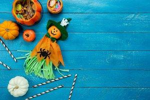 Top view Halloween Background.