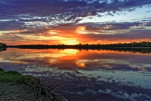 Bright saturated colors of dawn on