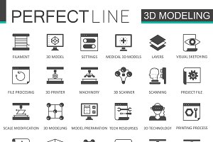 Black 3d modeling printing icons