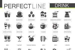 Black different drinks icons