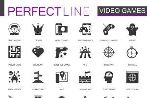 Black classic video games icons set