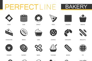 Black bakery pastry icons set