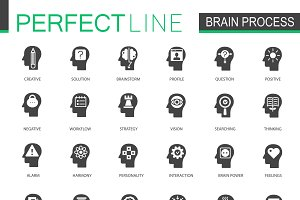 Black brain mind process icons set