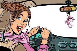 Beautiful woman driver in car