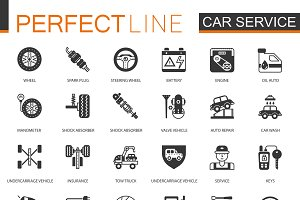 Black car repair service icon set
