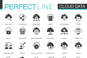 Black Data cloud technology icons