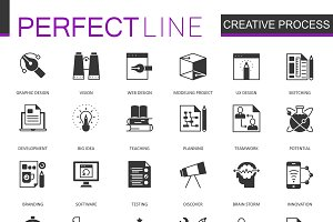 Black creative process icons