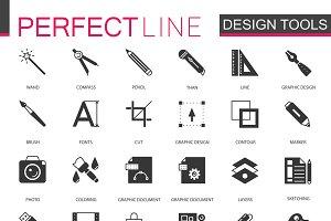 Black graphic design tools icons set