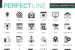 Black Digital Marketing icons set