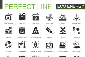 Black eco renewable energy icons set