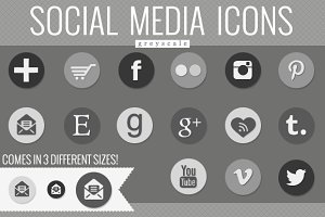social media icons - greyscale